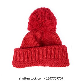 Red Knit Wool Hat with Pom Pom isolated on white background