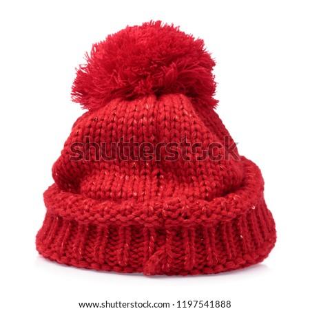 c9f3c9820ca Red Knit Wool Hat Pom Pom Stock Photo (Edit Now) 1197541888 ...