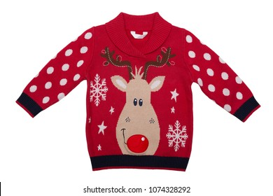 0035b1e9c Red knitted baby sweater with a deer pattern. Isolate on white background
