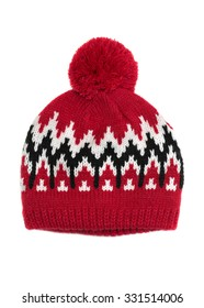 Red knitted cap with a pattern. Isolate on white.