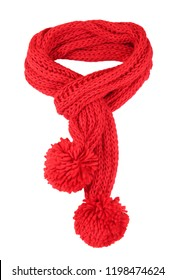 Red knitted scarf isolated on white.