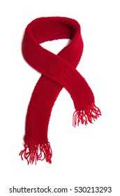 Red knitted scarf on a white background.