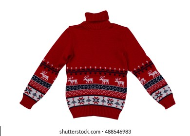 Red knitted sweater background with traditional design, isolate on a white background