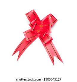 Red know bow isolated on white background