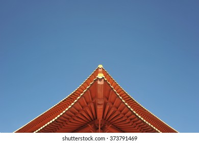 Red Korean Temple Roof and the Blue Sky