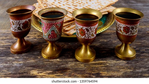Red kosher wine four of matzah or matza Passover Haggadah