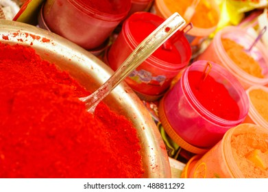 Red Kumkum for Sale in Varanasi, India