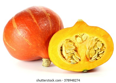 red kuri squash isolated on white background