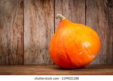 red kuri winter squash against rustic wood - fall holidays decoration