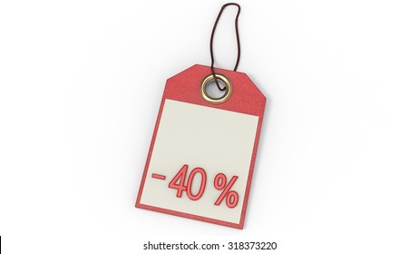 Red label with inscription or minus forty percent price tag with string isolated on white background