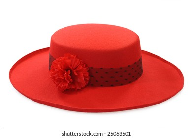 Red ladies hat isolated on white background