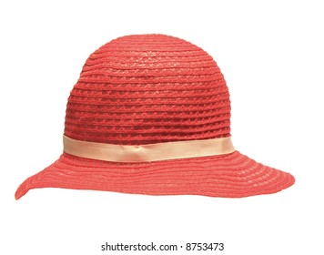 Red ladies hat, isolated on white.