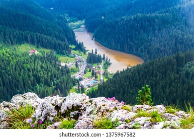 """Red Lake (Lacu Rosu) in Bicaz Gorge (Cheile Bicazului), Neamt county, Romania, as seen from above, from the Suhardul Mic peak, at the end of the via ferrata route called """"Wild Ferenc""""."""
