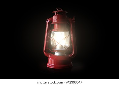 Red Lamp in Black Background