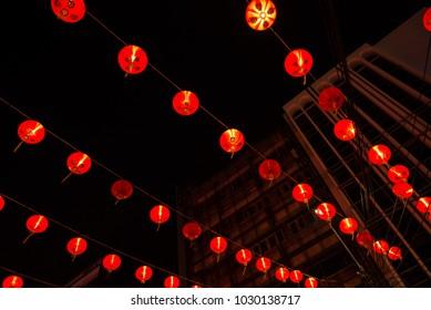Red lamp or lantern at china town