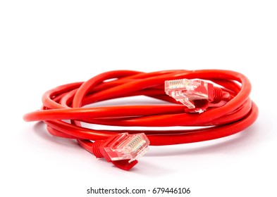 Red LAN Network cable with RJ-45 ports isolated on white background