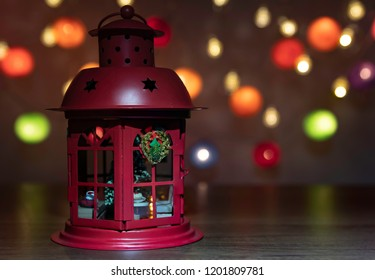 Red Lantern decorate by Christmas ornament with colorful Christmas light