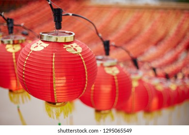 Red lantern hanging as decoration for Chinese New Year