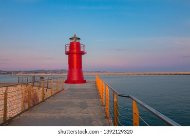 The red lantern. red lightohouse ancona's tourist and historic harbor