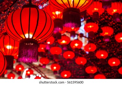 Red lanterns Chinese style during Chinese new year festival