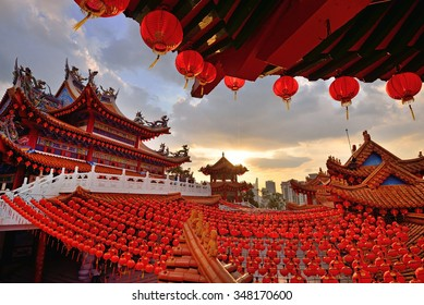 Red lanterns decorations at Thean Hou Temple in Kuala Lumpur, Malaysia