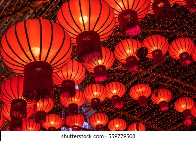 Red lanterns during Chinese new year festival, Selective Focus