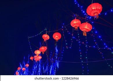 Red lanterns hang on trees