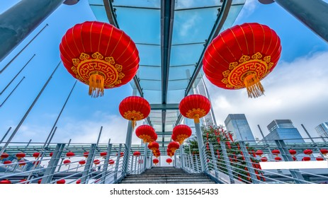 Red lanterns hanging high in the stairs of Shenzhen Convention and Exhibition Center