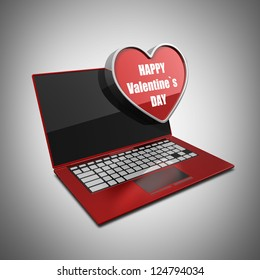 Red laptop with with big heart. High resolution 3d render