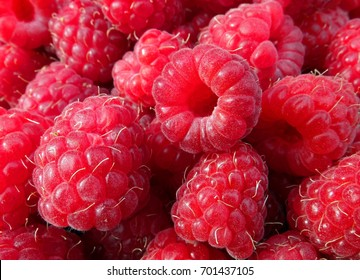 Red large fresh raspberry texture background.
