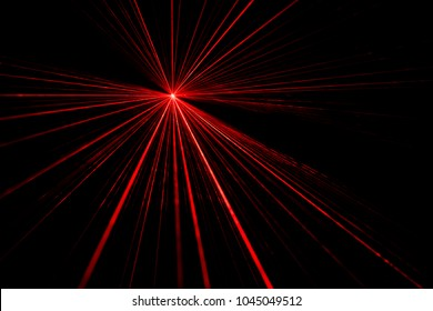 Red laser beam light effect on black background