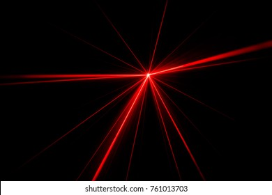 Red laser beam light effect on black background.