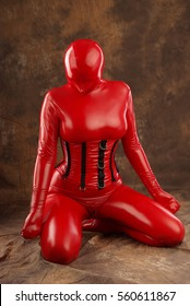 Red Latex Rubber Helpless Slave Girl BDSM Play Zentai