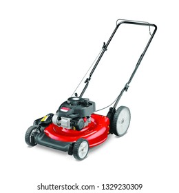 Red Lawn Mower Isolated on White Background. Gas Lawnmower Machine Side View. Grass Cutter. Garden Tool Powered by Gasoline Motor. Patio Equipment. Outdoor Power Equipment