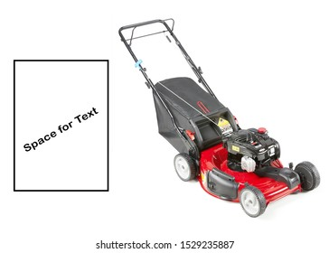 Red Lawn Mower Isolated on White Background. Gas Lawnmower Machine Side View. Grass Cutter. Outdoor Power Equipment. Walk-Behind Push Mower. Garden Tool Powered by Gasoline Motor. Patio Equipment