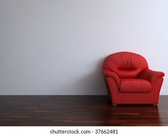 Red leather armchair to  face a blank white wall - with parquet - right side of view