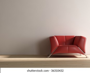 red leather armchair to face a wall