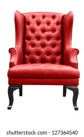 red leather armchair isolated on white.
