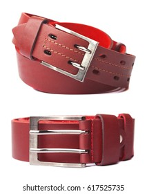 Red leather belt with buckle, isolated on white background.
