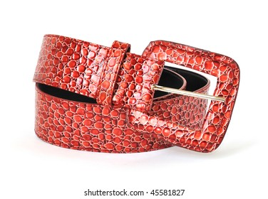 red leather belt isolated on white