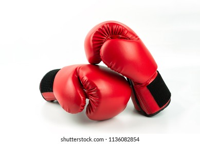 Red leather boxing gloves isolated on white background