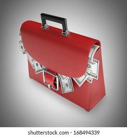 RED leather briefcase with dollars High resolution 3d