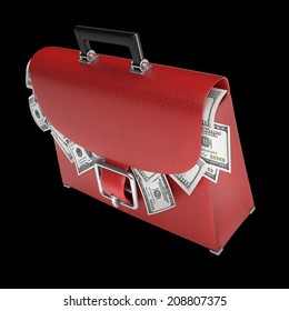 RED leather briefcase with dollars isolated on black background High resolution 3d