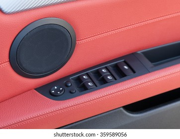Red leather in a Car Interior