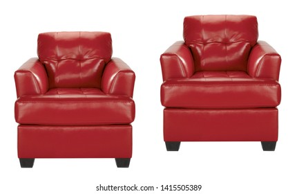 red leather chairs isolated on white background