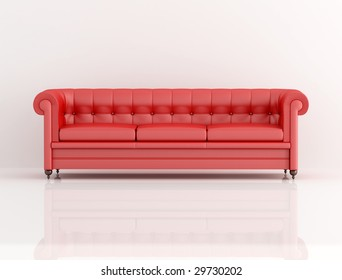 red leather classic sofa on white background - rendering