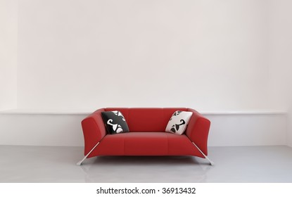 Red leather couch to face a blank white wall - front view