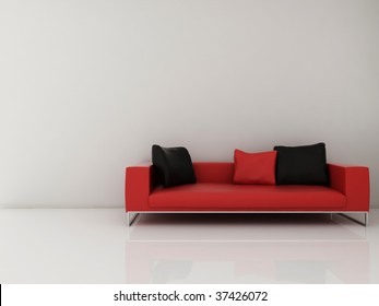Red Leather Couch to face a blank white wall