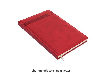 Red leather daily planner isolated on the white background