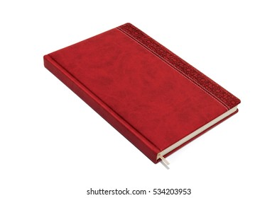 Red leather daily planner isolated on white background